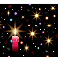 burning candle with lights vector image