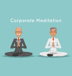 businessman elderly old corporate yoga meditation vector image vector image