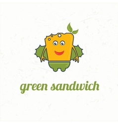Cartoon green sandwich vector image