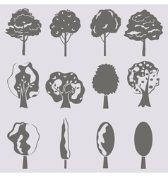 collection of tree silhouettes isolates vector image vector image