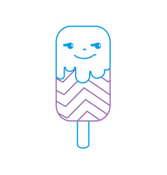color line rogue and sweet ice lolly and rainbow vector image