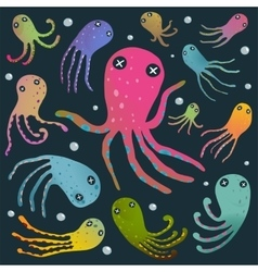 Colorful octopus isolated on black cartoon clip vector