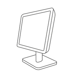 Computer monitor icon in outline style isolated on vector