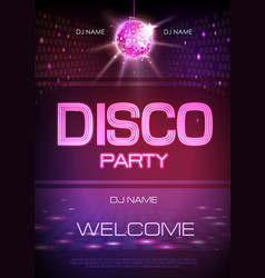 Disco ball background neon sign disco party vector