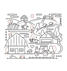 Farm - line design composition vector