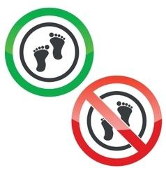 Footprint permission signs vector