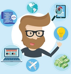 Freelancer and icons around Flat style vector image vector image
