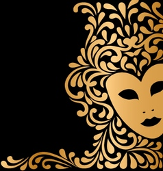 Golden mask with ornament vector