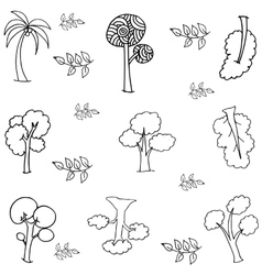 Hand draw tree various of doodles vector