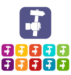 Hand hoding hammer with tool icons set flat vector