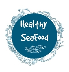Healthy seafood circle banner vector