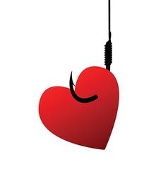 Heart on fishhook vector image