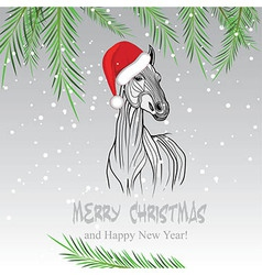 Horse merry christmas card vector