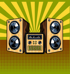 loudspeaker enclosure comic book style vector image vector image