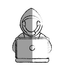 monochrome blurred contour with hacker faceless vector image