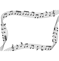 Music notes flowing along the rim of artboard vector
