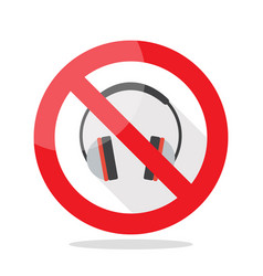 No headphones prohibition sign vector