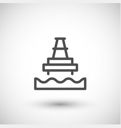 Offshore oil platform line icon vector