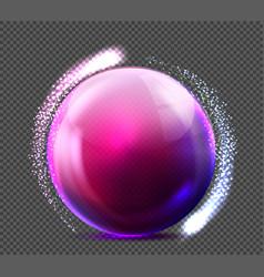 Realistic violet glass sphere transparent vector