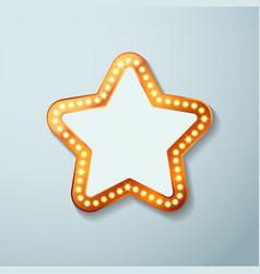 Retro cinema bulb sign star shape vector