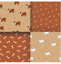 Set of awesome seamless pattern with cute dog vector