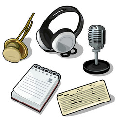 set of headphones microphone notes and other vector image