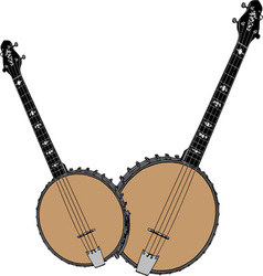 Two banjos vector