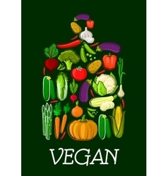 Vegan healthy vegetables cutting board icon vector image vector image