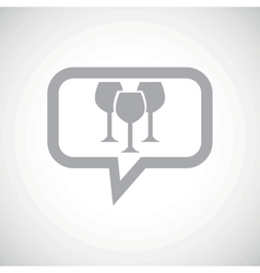 Wine glass grey message icon vector image