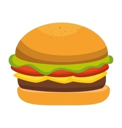 hamburger fast food icon vector image