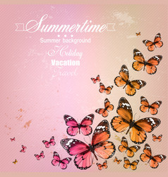 Colorful vintage summer background with butterfly vector