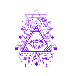 All-seeing eye pyramid symbol vector