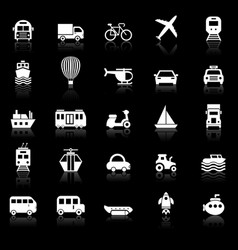Transportation icons with reflect on black vector
