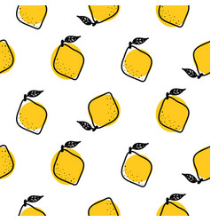 Yellow lemon with leaves seamless pattern vector