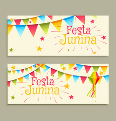 Festa junina celebration banners vector