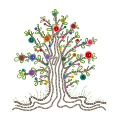 Colorful embroidered tree with buttons fruits vector