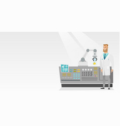 Scientist and robotic arm conducting experiments vector