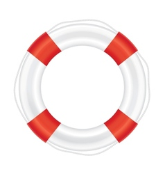 Lifebuoy with red stripes and rope salvation vector