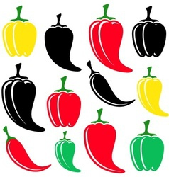 Colorful and black peppers vector image
