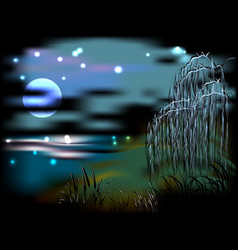Night landscape with lake and reeds in the light vector