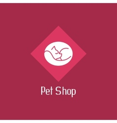 Flat cat sign for pet shop logo vector