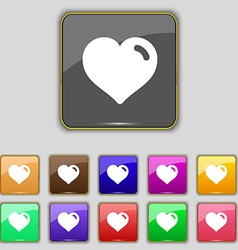 Heart love icon sign set with eleven colored vector