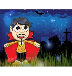 Halloween vampire in the night cemetery vector