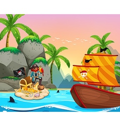 Ocean scene with pirate and treassure vector