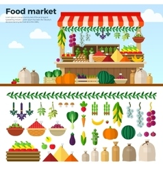 Healthy food market of vegetables fruits berries vector