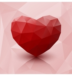 Abstract red heart low poly with reflection vector