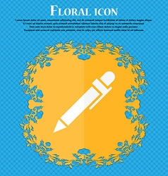 Pen icon floral flat design on a blue abstract vector