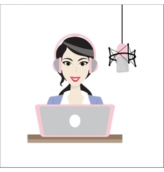 Female brunette disc jockey radio station vector