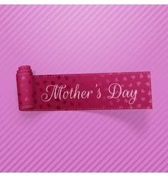 Mothers day text on greeting curved ribbon vector