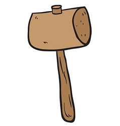 Freehand drawn cartoon wooden mallet vector